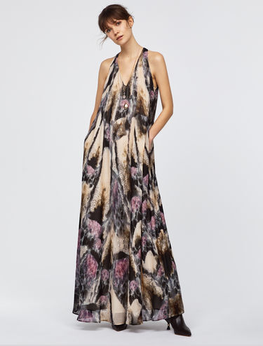 Maxi dress with butterfly pattern