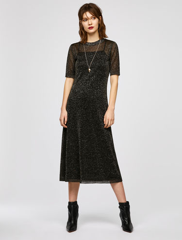 Lamé knit midi dress