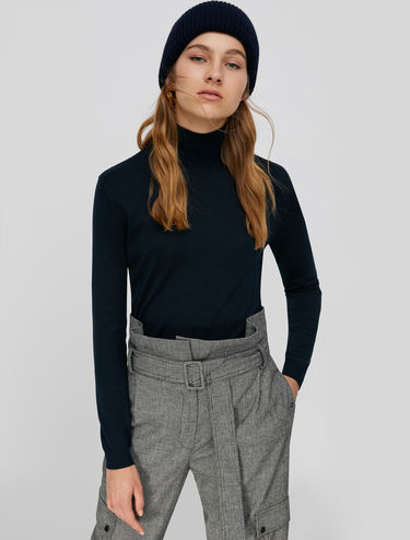 Mock polo-neck in silk-cotton blend