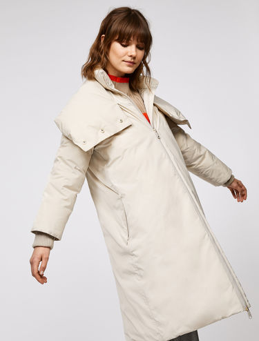 Long padded coat with extra large collar