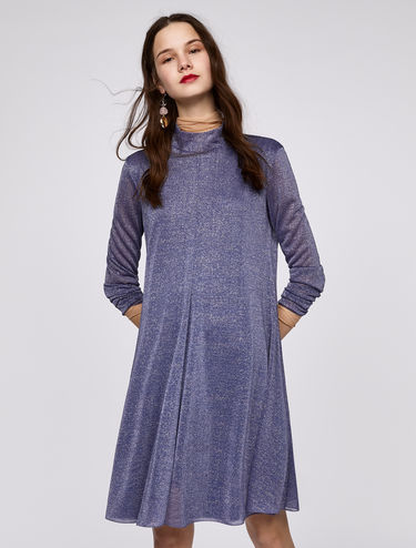 Lamé jersey A-line dress