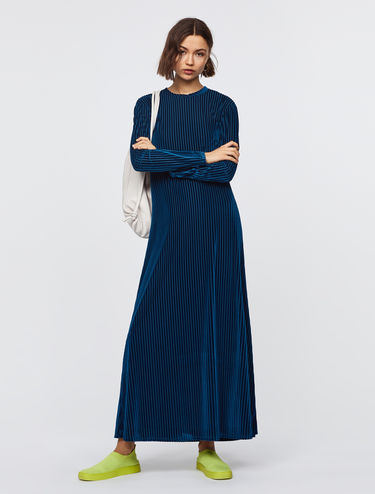 Maxi dress with velvet stripes