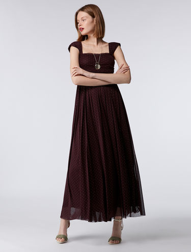 Floaty tulle maxi-dress with micro polka dots