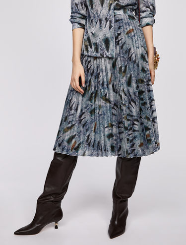 Lamé jersey pleated midi skirt