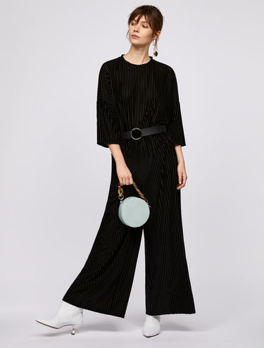 Wide-leg trousers with velvet stripes