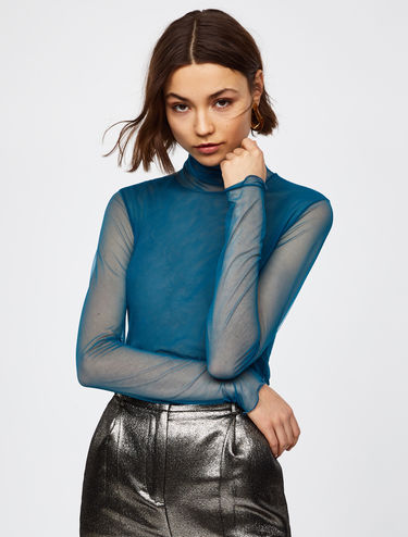 Stretch tulle polo-neck top