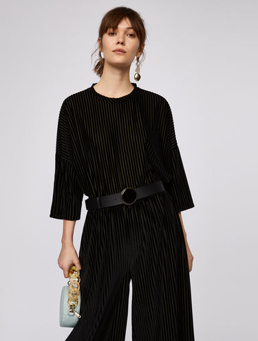 Oversized T-shirt with velvet stripes