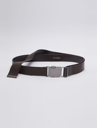 Leather belt with clip buckle