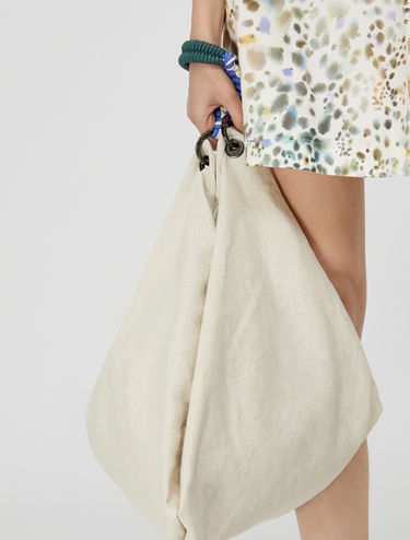 Maxi hobo bag in cotton and linen