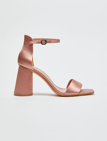 Satin slanted heel sandals