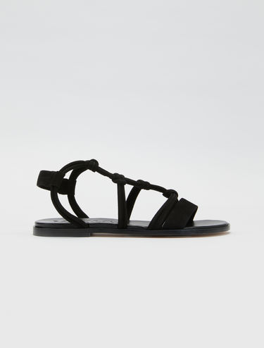 Suede sandals with knot detail