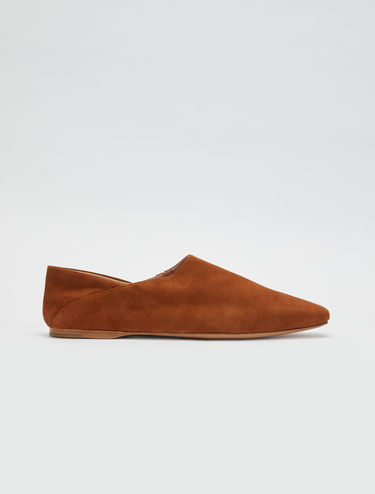 Suede leather mules