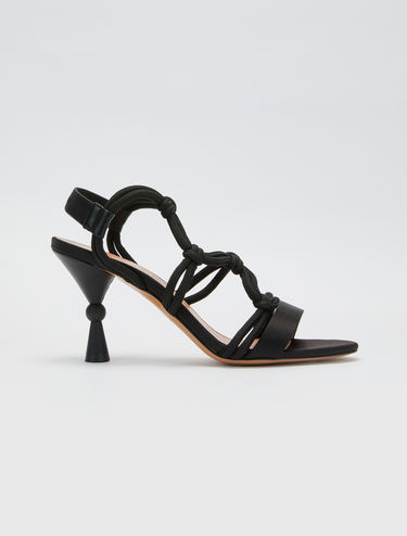 Satin and cord sandals