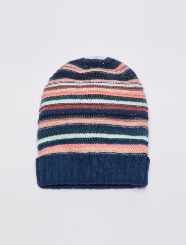 Knit beanie with 3D stripes and sequins