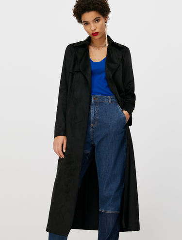 Soft touch jersey trench coat