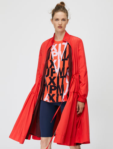 Draped duster coat with drawstring