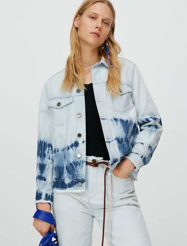 Tie-dye bleached denim jacket
