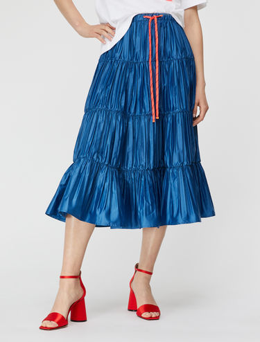 Pleated ruffle satin skirt