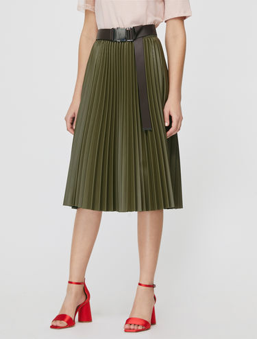 Pleated skirt with coated finish