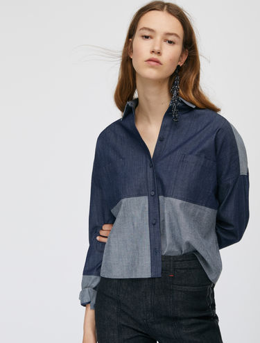 Chemise en denim color block