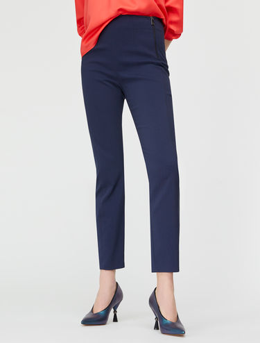 Jacquard pattern slim-fit trousers