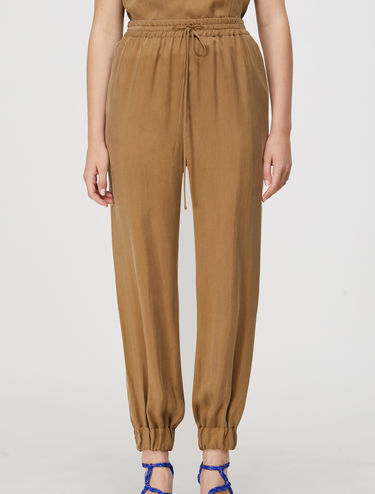 Jogging trousers in fluid twill