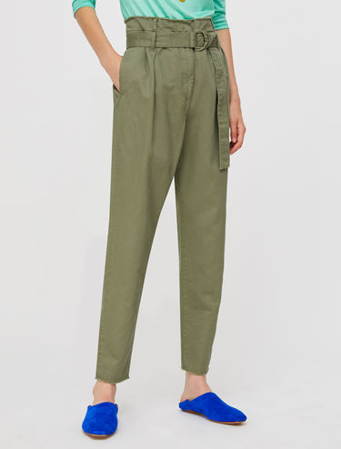 Carrot fit trousers in gabardine