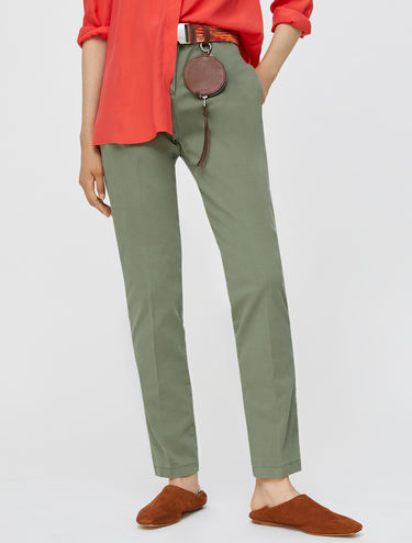 Slim-fit gabardine trousers
