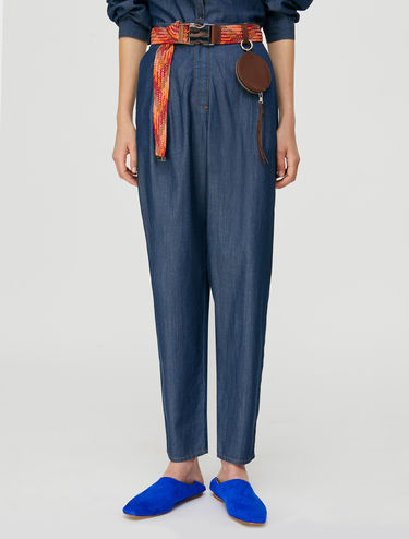 Carrot-fit trousers in indigo chambray