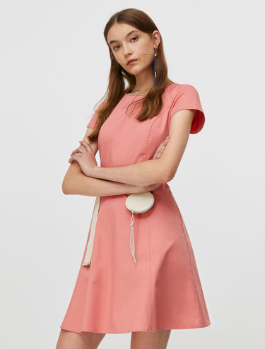 Gabardine fit-and-flare dress