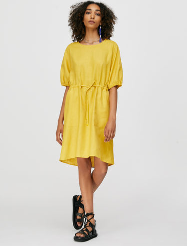 Pure linen dress with drawstring