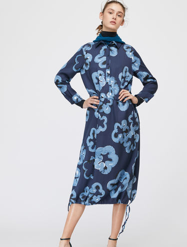 Printed shirt dress with drawstring
