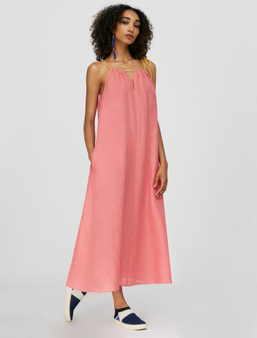 Pure linen strappy halter neck dress