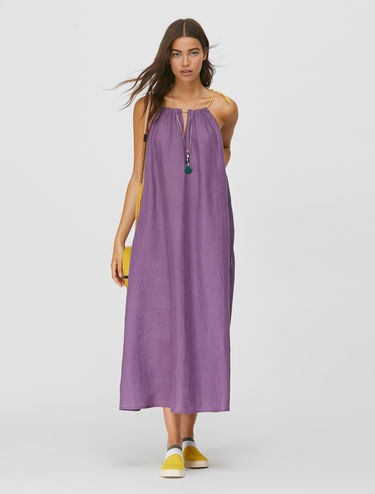 Pure linen strappy halter neck dress