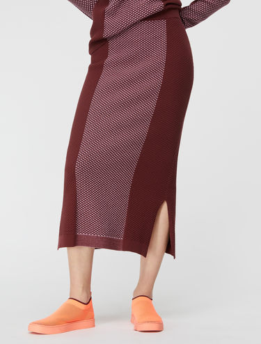 3D colour-block knit midi-skirt
