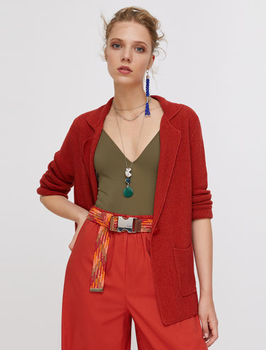 Blazer in cotton and linen knit