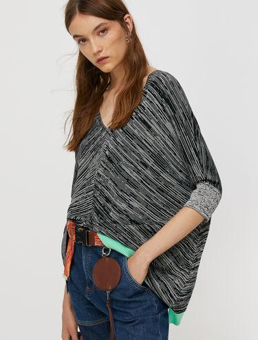 Micro-print poncho jumper