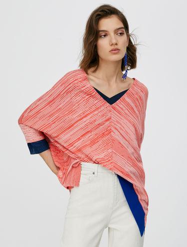 Micro print poncho jumper