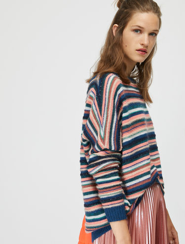 Jumper with 3D stripes and sequins