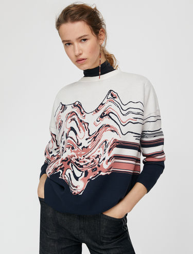 Jumper with jacquard waves and stripes