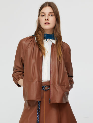 Gathered nappa jacket