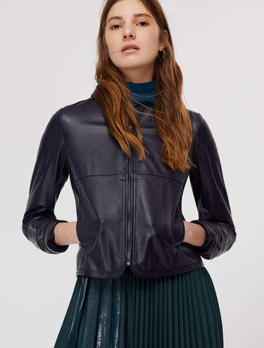 Cropped nappa biker jacket