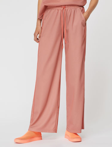 Wide-leg technical mesh trousers