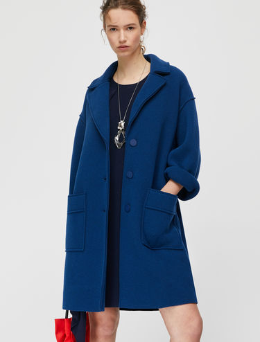 Raw-cut boiled-wool coat