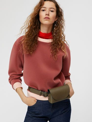 Velvet sweatshirt with contrasting trim