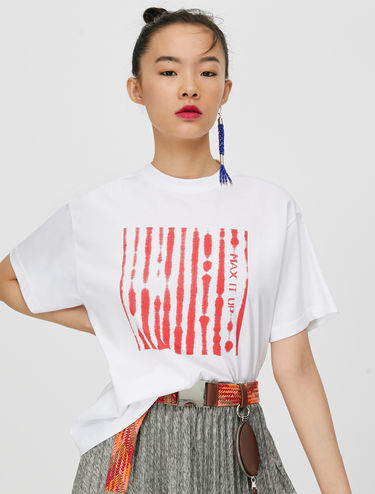 T-shirt with printed yoke