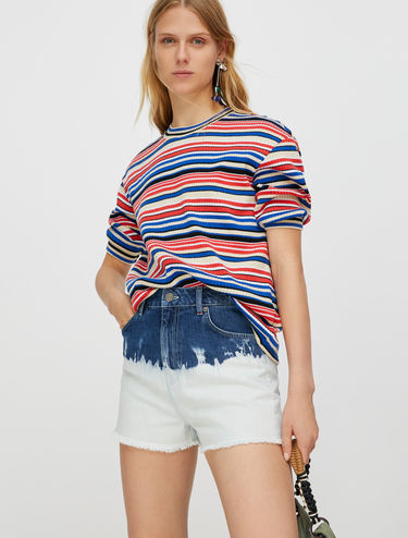 Ribbed T-shirt with lamé stripes