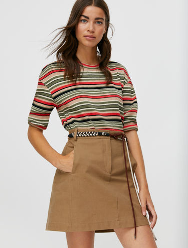 T-shirt with lamé stripes and ribbing