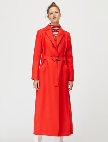 Raw-cut broadcloth long coat