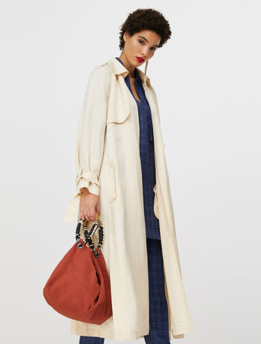 Long unstructured trench coat